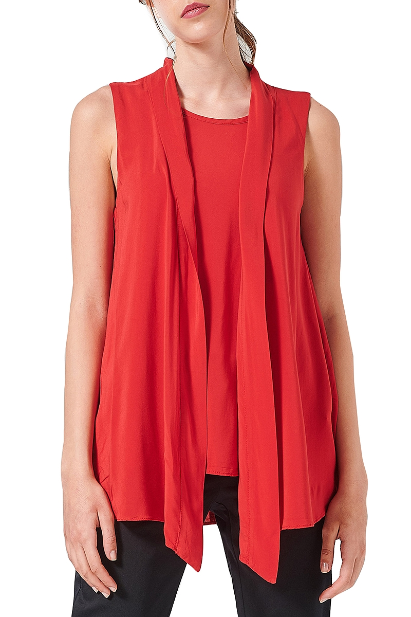 Top Ale Αμάνικο Με Layers 81361374-RED