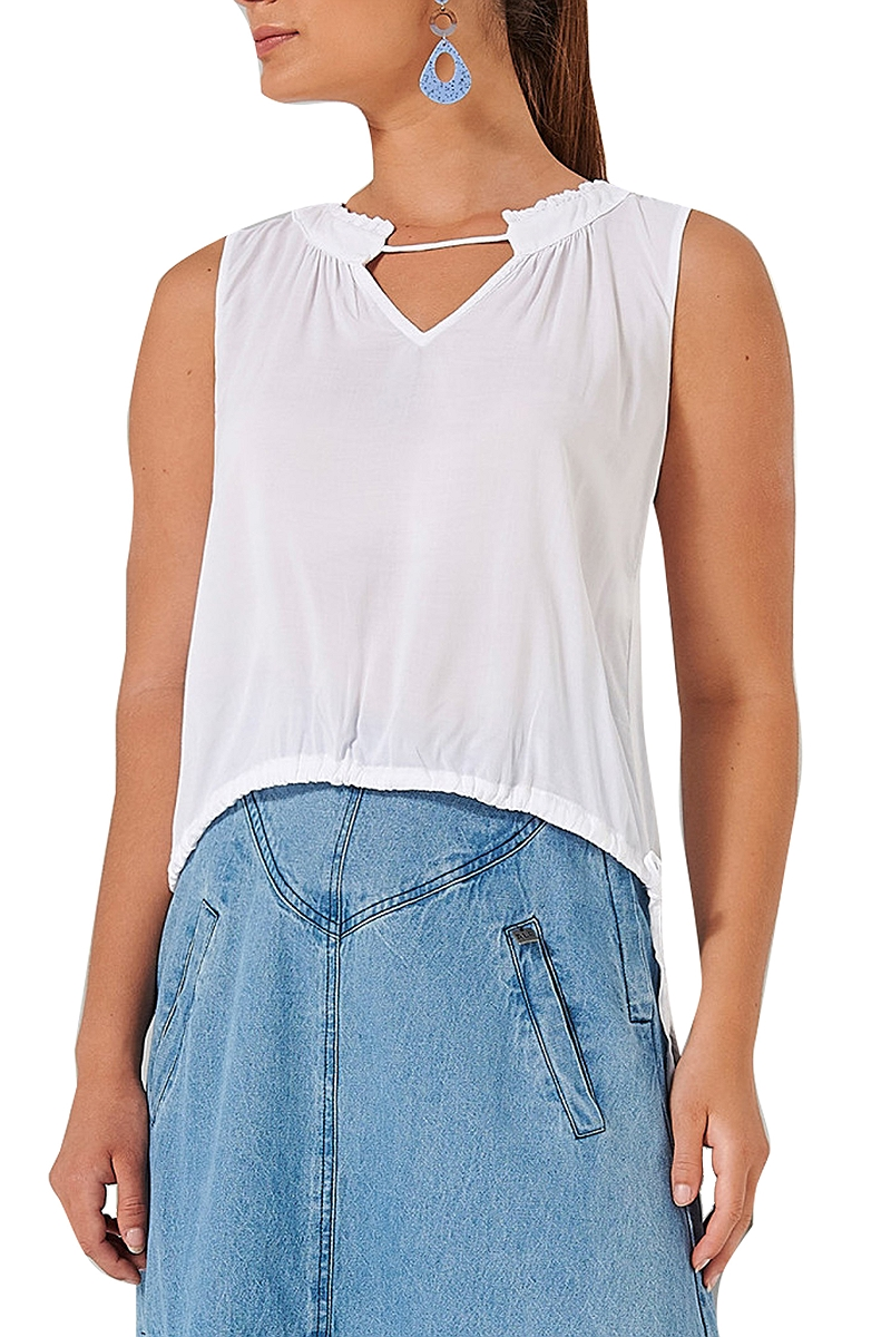 Top Ale Αμάνικο Με Σούρα 81361405-WHITE