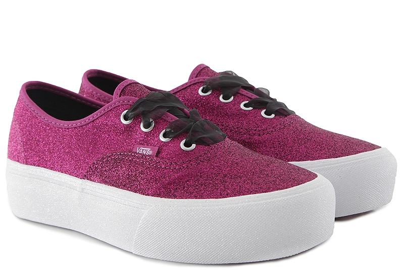 Sneaker Vans Authentic Platform (Glitter) VN0A3AV8UJQ1-WILD-ASTER-TRUE-WHITE