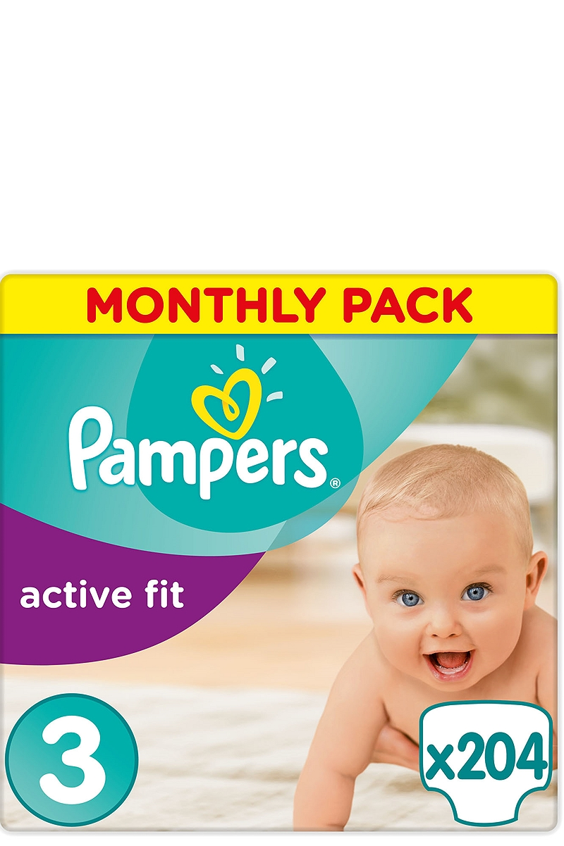 Active Fit Pampers Monthly Pack Midi 204 τεμ. Νο 3 (4-9kg) 4015400557456