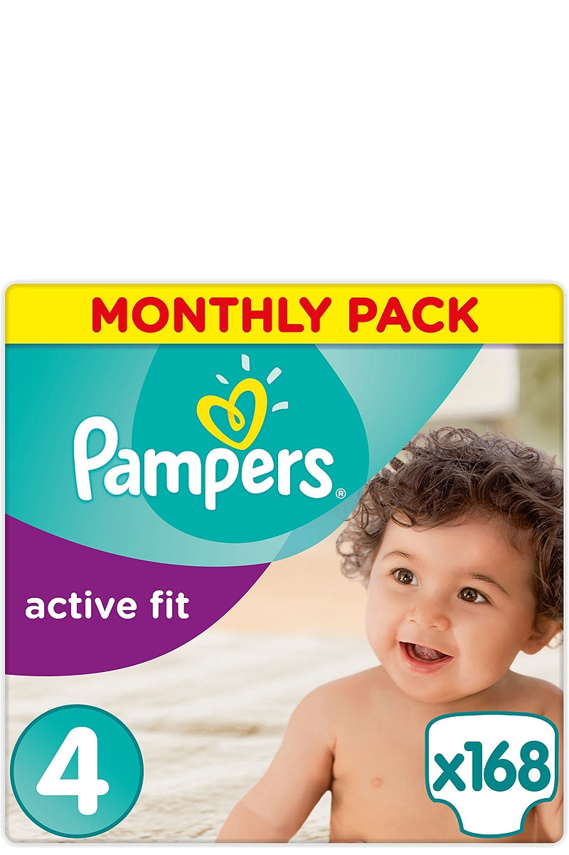 Active Fit Pampers Monthly Pack Maxi 168 τεμ Νο 4 (7-18kg) 4015400557487