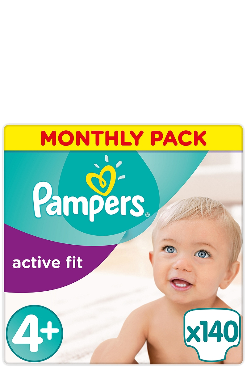 Active Fit Pampers Monthly Pack Maxi Plus (140 τεμ) Νο 4+ (9-20kg) 4015400557517