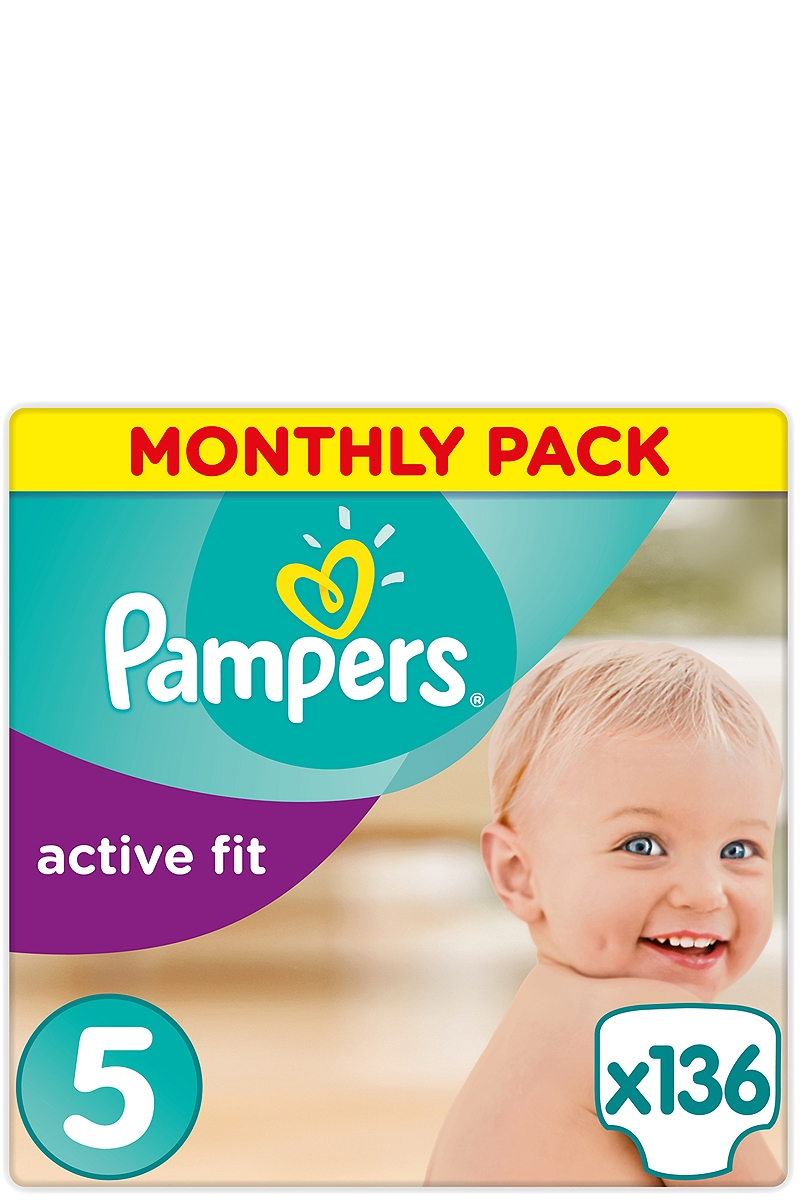 Active Fit Pampers Monthly Pack Junior 136 τεμ Νο 5 (11-25kg) 4015400557548