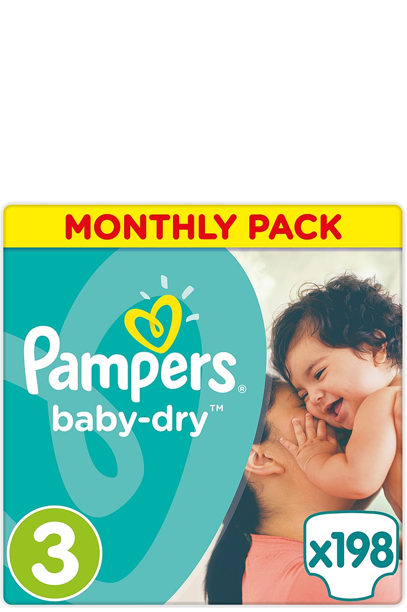 Baby Dry Pampers Monthly Pack Midi 198τεμ Νο 3 (4-9kg) 4015400566663