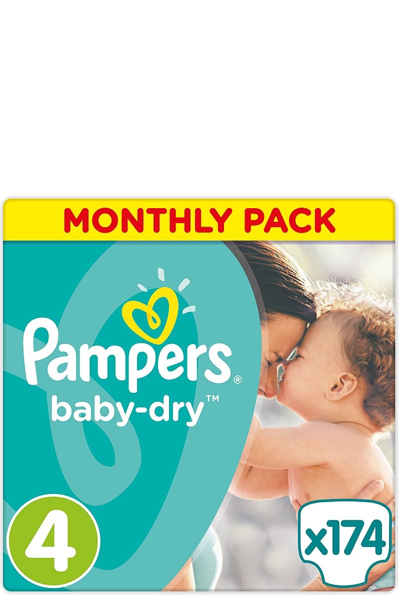 Baby Dry Pampers Monthly Pack Maxi 174 τεμ. Νο 4 (7-18kg) 4015400566700