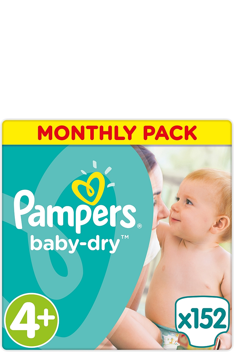 Baby Dry Pampers Monthly Pack Maxi Plus 152 τεμάχια Νο 4+ (9-20kg) 4015400566748