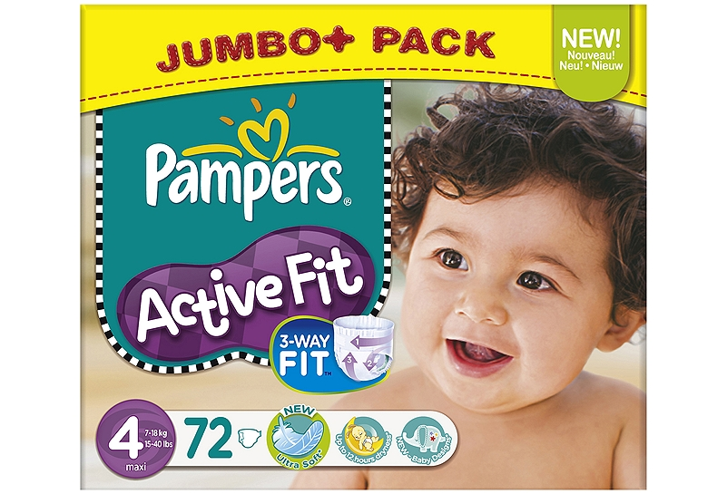 Active Fit Pampers Maxi 72 τεμάχια Νο 4 (7-18kg) 4015400530602