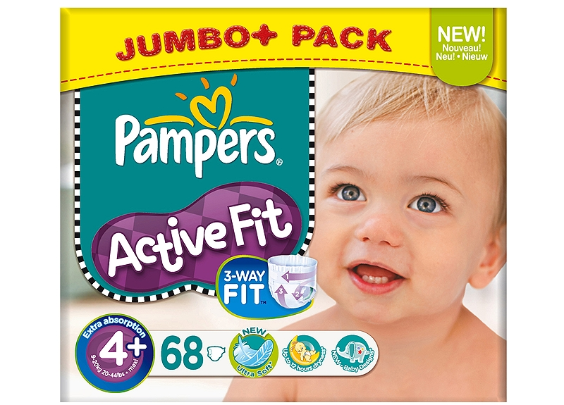 Active Fit Pampers Maxi Plus 68 τεμάχια Νο 4+ (9-20kg) 4015400530626