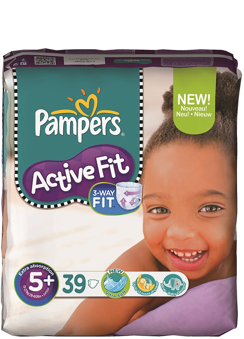 Active Fit Pampers Junior Plus (39τεμ) Νο 5+ (13-27kg) 4015400530770