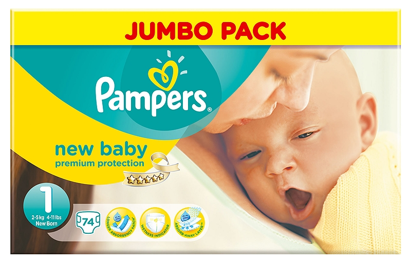 New Baby Pampers New Born 74 τεμάχια Νο 1 (2-5kg) 4015400527091