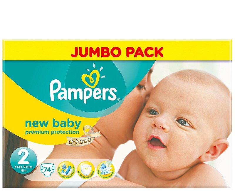 New Baby Pampers Mini 74 τεμάχια Νο2 (3-6kg) 4015400599739