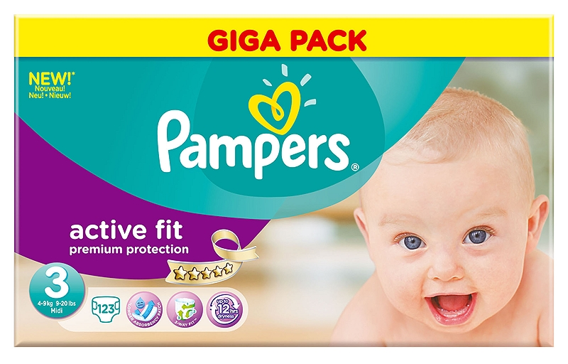 Active Fit Pampers Midi 123 τεμάχια Νο 3 (4-9kg) 4015400618218