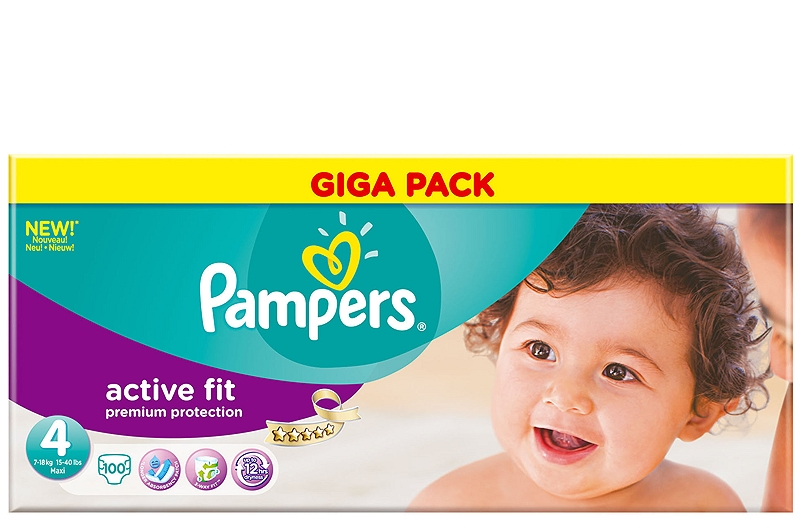 Active Fit Pampers Maxi 100τεμ Νο 4 (7-18kg) 4015400618232