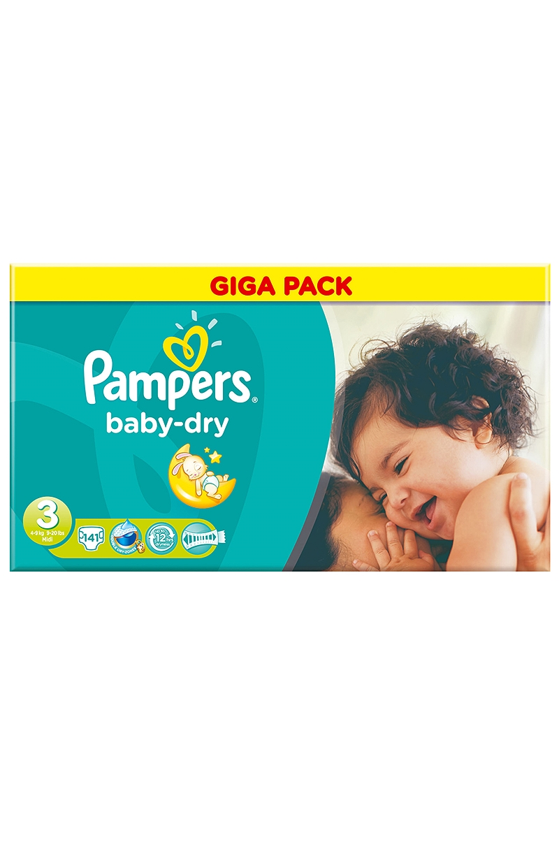 Baby Dry Pampers Midi 141 τεμ Νο 3 (4-9kg) 4015400630388