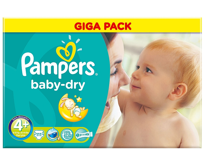 Baby Dry Pampers Maxi Plus 111 τεμάχια Νο 4+ (9-20kg) 4015400630449