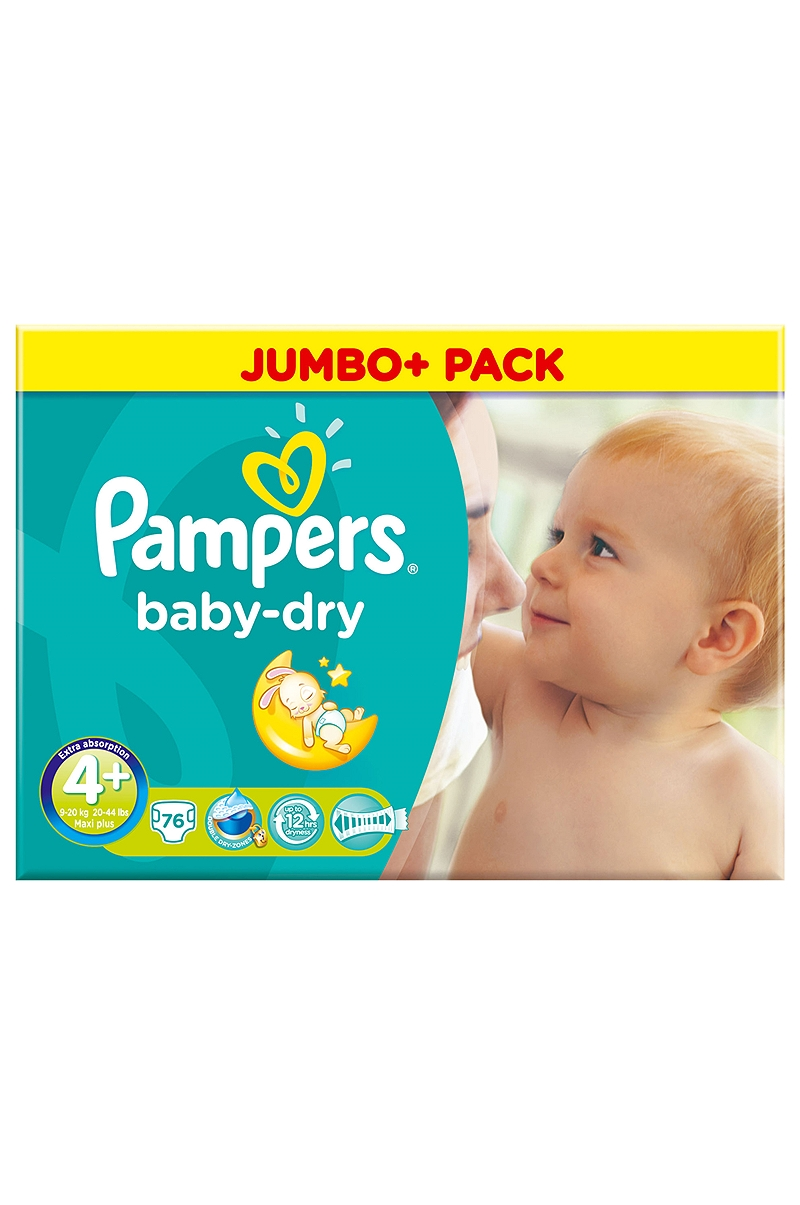 Baby Dry Pampers Maxi Plus 76 τεμάχια Νο 4+ (9-20kg) 4015400646020