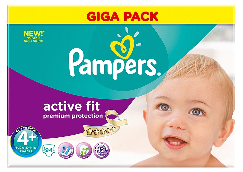 Active Fit Pampers Maxi Plus 94 τεμάχια Νο 4+ (9-20 kg) 4015400618256
