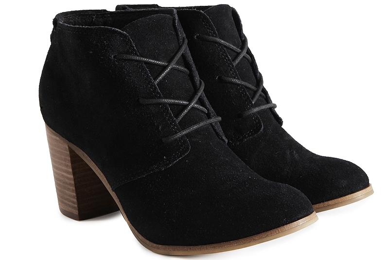 Μποτάκια Toms Lunata Lace Up Black Suede 10008937