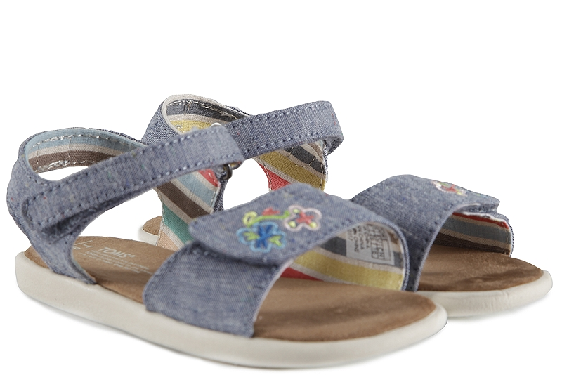 Πέδιλα Toms Strappy Blue Multi Speckle Chambray 10009803