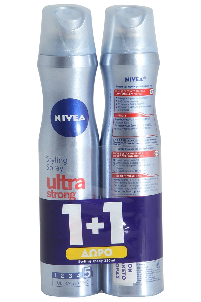 Spray Nivea Ultra Strong 250ml 1+1 Δώρο 5201178004554