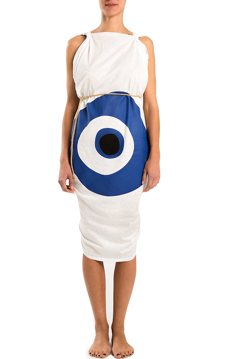 Παρεό Pareaki Evil Eye Pareo Rose Blue on White Cotton EE-BLEU-WC
